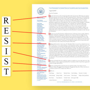 Presidential Arts Committee Resigns En Masse With Open Letter That Low-Key Spells Out 'RESIST'