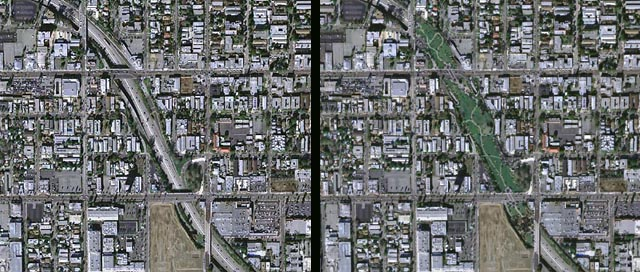 Before (left) and after (right) photos of the Hollywood Freeway Central Park project