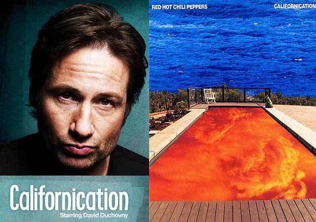 on the left david Duchovny's californication on the right the OG, the red hot chili peppers