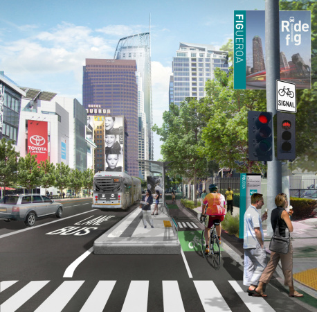 An Improved Stretch Of Figueroa Street Is Officially Open In Downtown LA