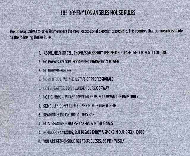 the doheny house rules