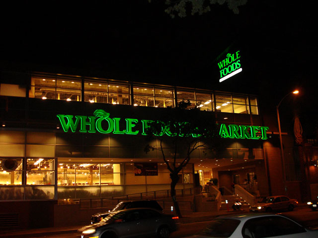Street View of Whole Foods at Night