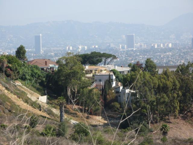 houses, with city in the distance