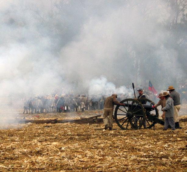 During the heat of battle at Civil War reenactment at Tierra Rejada Ranch on 11/11/07