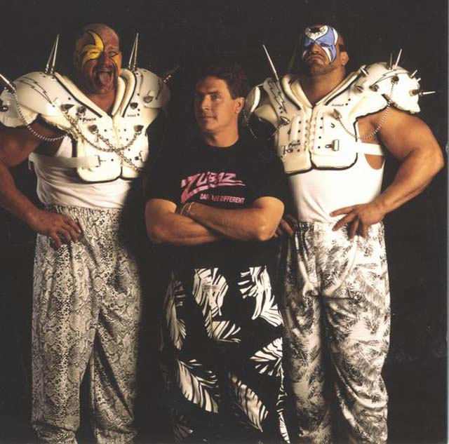 Zubaz pants are back! Here's a promotional poster from the first run featuring Dan Marino and the Road Warriors