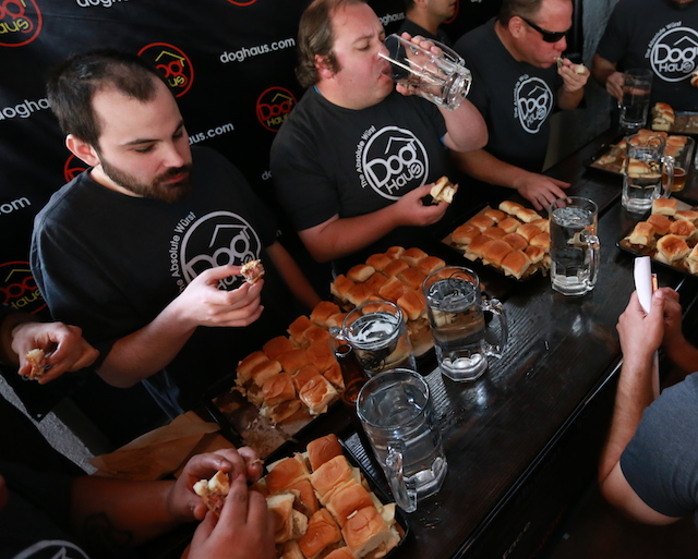 Holy Hamburger: Man Eats 38 Sliders in 6 Minutes at Dog Haus