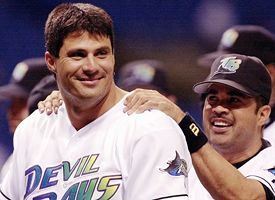 Author Jose Canseco as a member of the Devil Rays
