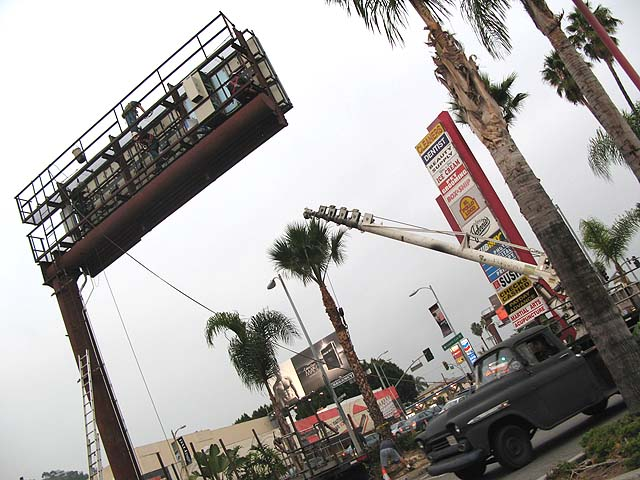 electric billboard gets erected on sunset near the mcdonalds