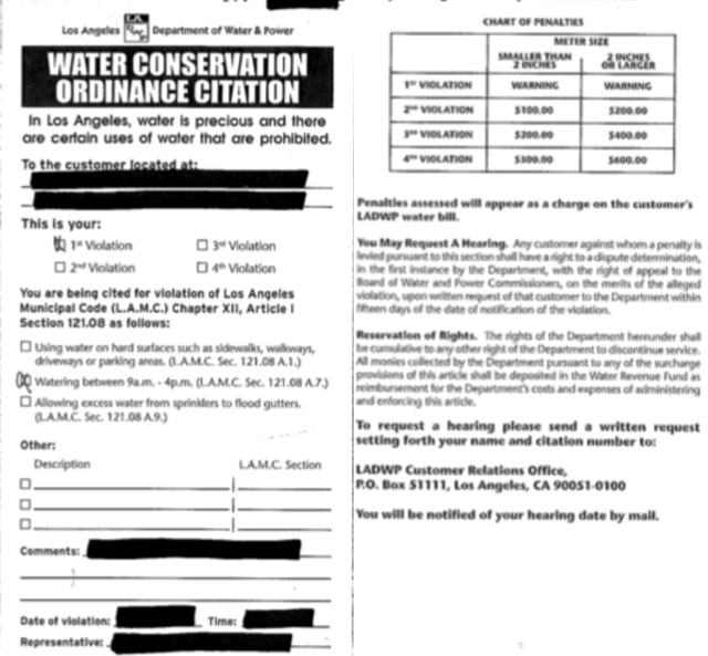 What a 'Water Conservation Ordinance' Citation Looks Like