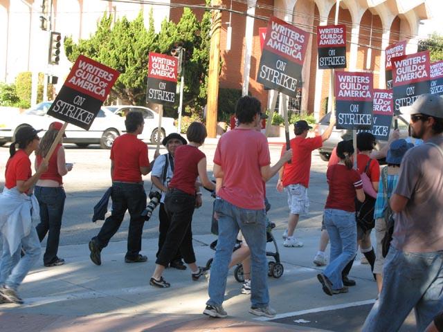 wga strikers marching in burbank last week