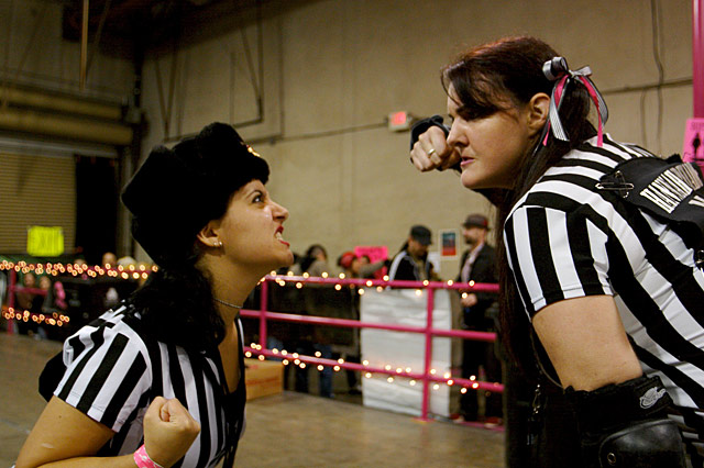derby dolls la Cagey Bea and Hannah Grenade enforcers