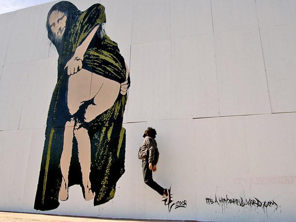 mona lisa, mona lisa! graffiti by nick walker