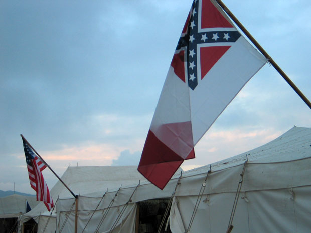 Flags flying over the general store during Civil War reenactment at Tierra Rejada Ranch on 11/11/07.