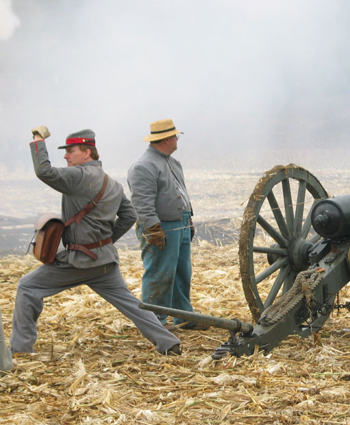 Firing a cannon during the Civil War reenactment at Tierra Rejada Ranch on 11/11/07.