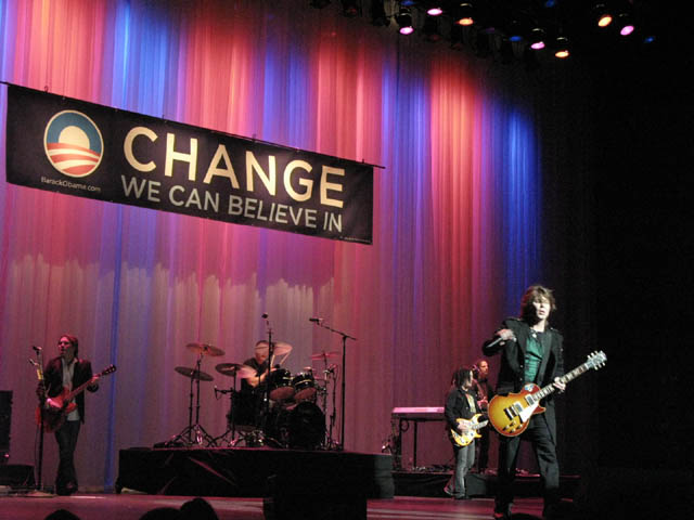 the Goo Goo Dolls performing for Barack Obama at the Gibson Theatre at Universal Studios