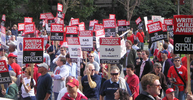 big crowd at the wga strike in fox plaza in century city