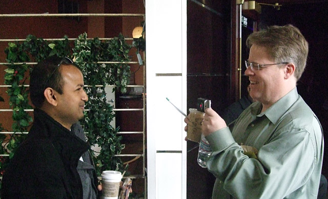 rafat ali and robert scoble at community next in hollywood