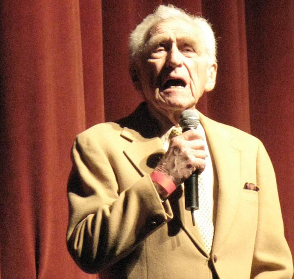 actor James Whitmore supporting Barack Obama at the Gibson Theatre at Universal Studios