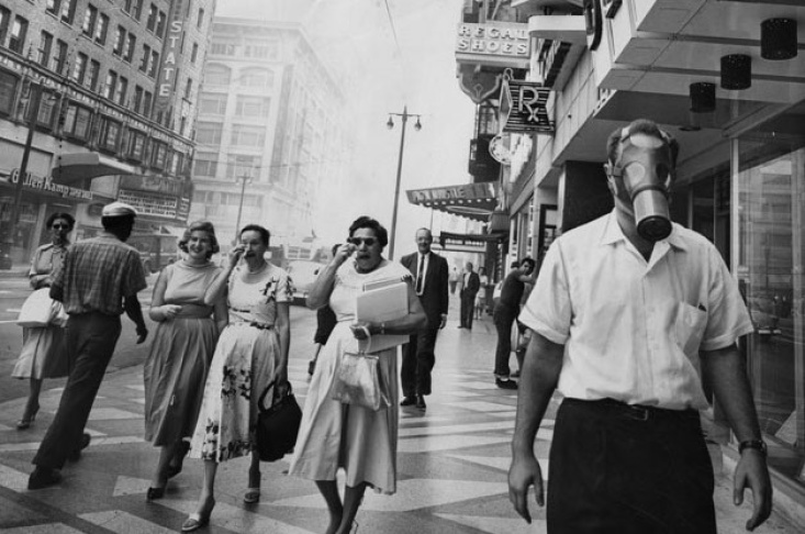 Happy 75 Years Of Smog, LA. We Don't Wear Gas Masks Anymore But The Air Is Still Terrible