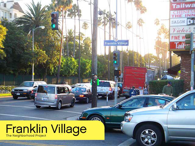 A busy Franklin Village street