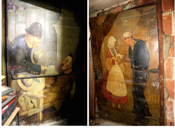 A Composite Image Of The Murals On Both Sides Of The Steel Fired Door In  The Basement Of The King Eddy Saloon In Downtown Los Angeles.