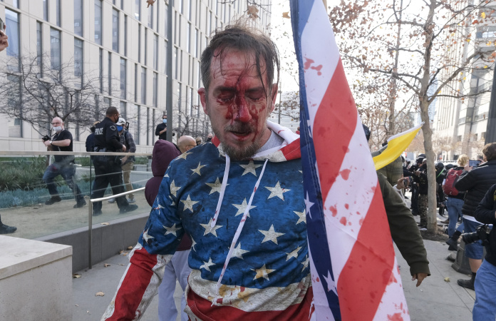 PHOTOS: Clashes In Downtown LA, As Trump Supporters Turn Out In Solidarity With US Capitol Extremists