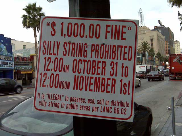 silly string ban in Hollywood