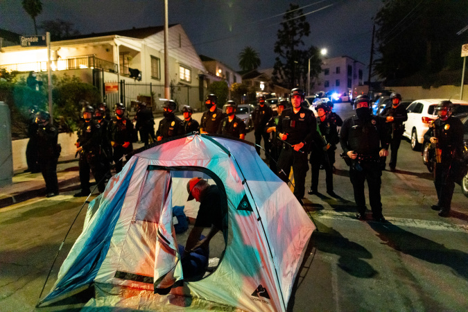 Echo Park Lake Encampment: Protesters Clash With LAPD As A Deadline To Leave The Park Is Issued