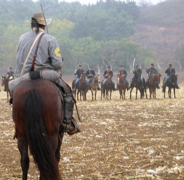 Preparing for battle during Civil War reenactment at Tierra Rejada Ranch on 11/11/07