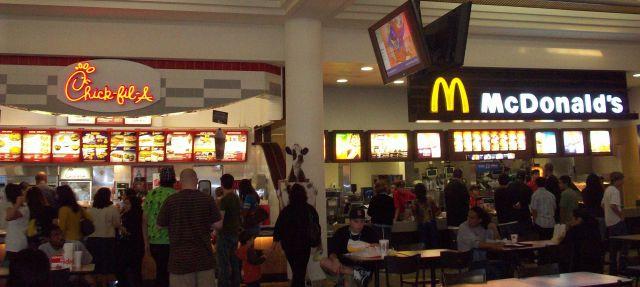 In the food court located inside The Galleria at South Bay mall, Chick-fil-a and McDonalds are right next door to each other