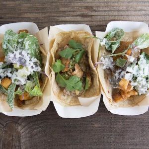 Fish Taco Topped With Caesar Salad Is A Perfect Match At This Downtown Taqueria