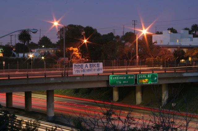Freeway bike ride banner