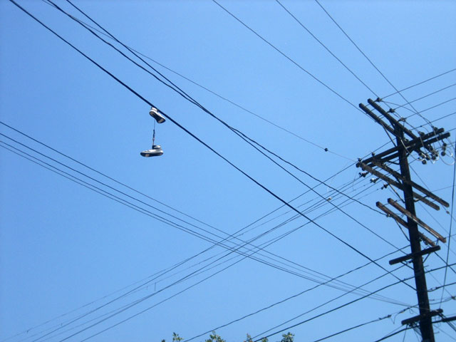 Ubiquitous shoes on a powerline