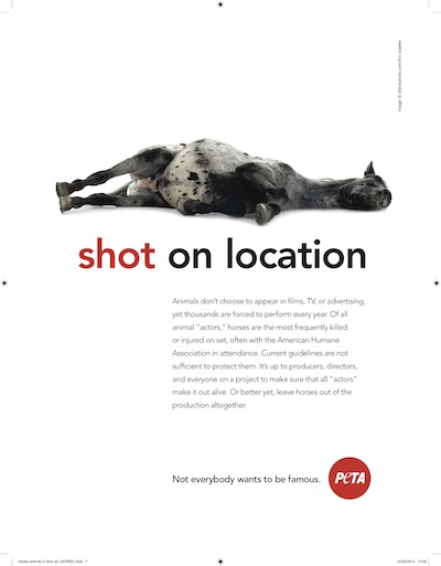 Better Yet Why Not Leave Horsies At >> L A Times Oks Peta Ad Featuring Dead Horse Shot On Location Laist