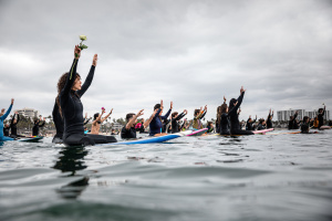 PHOTOS: Black Girls Surf Organizes Protest From Their Boards