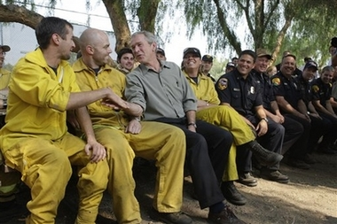 bush with firefighters