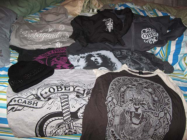 all the crap i got at the Obey Giant Sample Sale