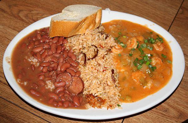 Combo - red beans, jambalaya, shrimp etouffee