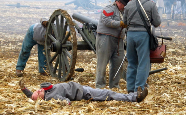 Man down during Civil War reenactment at Tierra Rejada Ranch on 11/11/07.