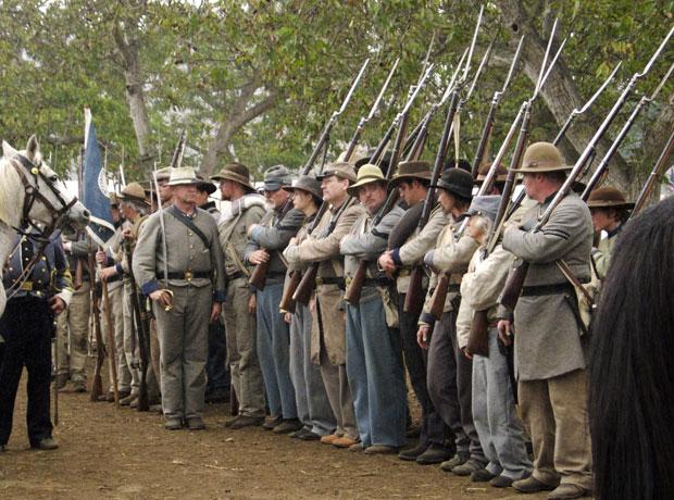 Preparing to fight during Civil War reenactment at Tierra Rejada Ranch on 11/11/07.