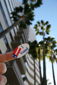 Freebies with I Voted Sticker violates California state law