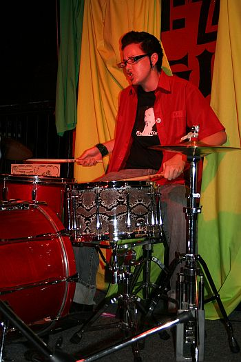 FHMH drummer playing the Dyke March LA afterparty