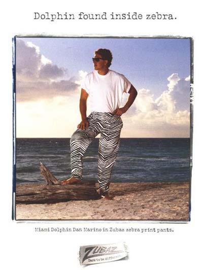 Dan Marino stars in one of the original print ads for Zubaz