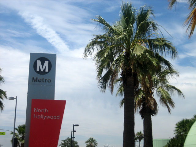 Signage for the Metro's Red Line North Hollywood Station