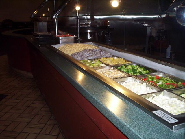 the Mongolian BBQ section