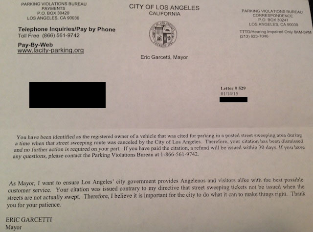 City Of Los Angeles Parking Violation >> Mayor Garcetti Is Actually Refunding Those Bogus Parking Tickets Laist