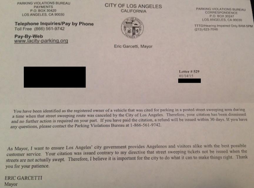 City Of Los Angeles Parking Violation >> Mayor Garcetti Is Actually Refunding Those Bogus Parking
