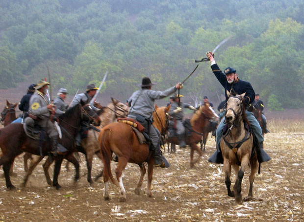 Horse charge during Battle of Franklin reenactment on 11/11/07