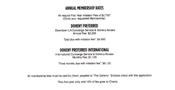 the doheny rates