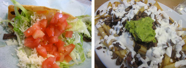 Lamb taco and Carne Asada Fries at My Taco in Garvanza